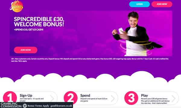 gala spins £5 cash back casino bonus